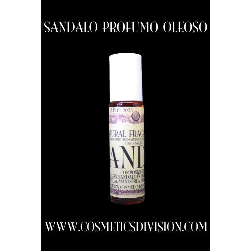 Sandalo profumo oleoso (Santalum Album), olio, 10 ml., roll-on, naturale, WWW.COSMETICSDIVISION.COM